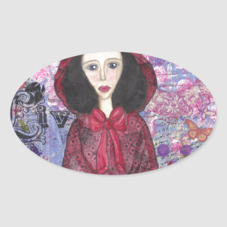 Little Red Riding Hood in the Woods 001.jpg Oval Sticker