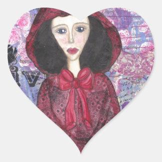 Little Red Riding Hood in the Woods 001.jpg Heart Sticker