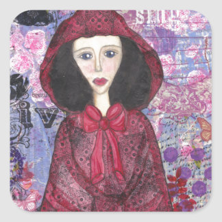 Little Red Riding Hood in the Woods 001.jpg Square Sticker