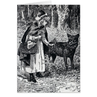 Little Red Riding Hood Petting Wolf in Woods Card