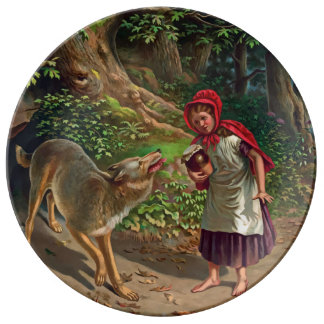 Little red riding hood porcelain plate