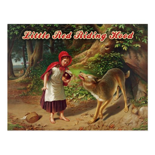 Little Red Riding Hood & the Big Bad Wolf Post Card