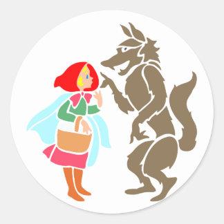 Little Red Riding Hood wolf little talk riding hoo Round Sticker