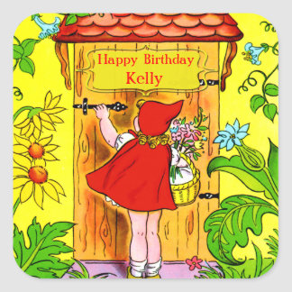 Little Red Riding Hoods Birthday Visit Square Sticker