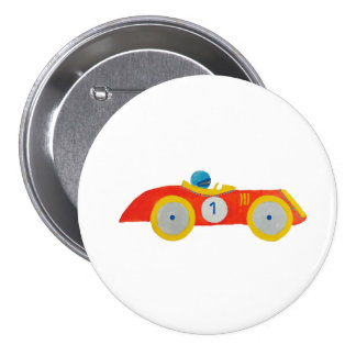 Little Red Roadster Racing Car Child 1st Birthday 7.5 Cm Round Badge