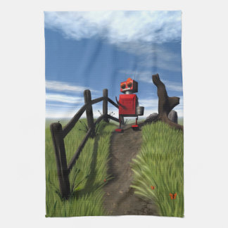 Little Red Robot Tea Towel
