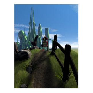 Little Red Robot Walking Over a Hill Postcard