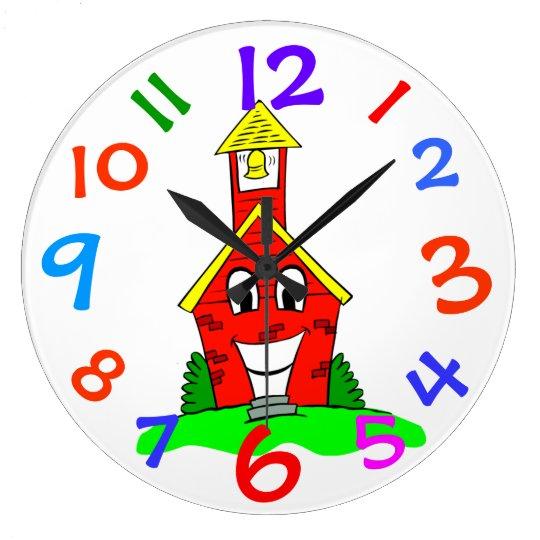 Little Red School House Kids Room Wall Clock