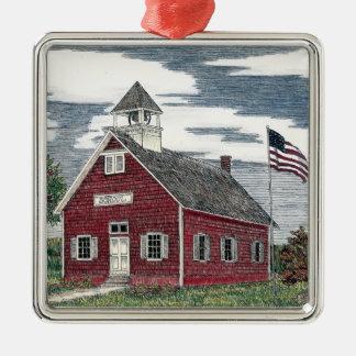 Little Red Schoolhouse Premium Square Ornament