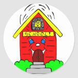 Little Red Schoolhouse Round Sticker