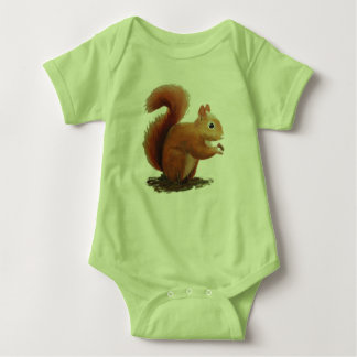 Little red squirrel baby bodysuit