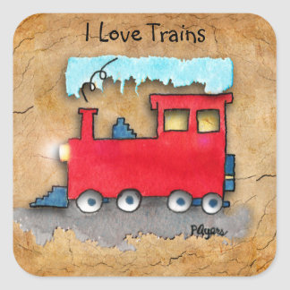 Little Red Train I Love Trains Art Stickers