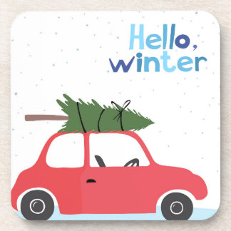 Little Red Vintage Car With Christmas Tree On Top Coaster