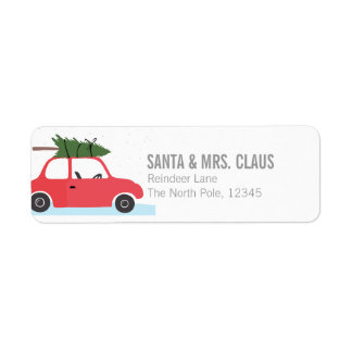Little Red Vintage Car With Christmas Tree On Top Return Address Label