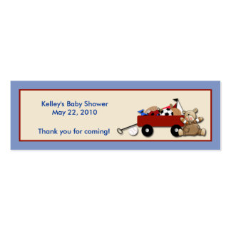 Little Red Wagon TEDDY BEAR Party Favor Tag Business Card