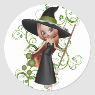 Little Redhaired Witch with Green Vines Design Classic Round Sticker