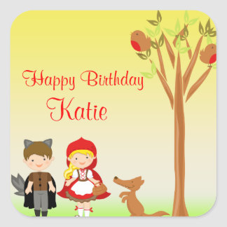 Little Riding Hood Birthday Celebration Square Sticker