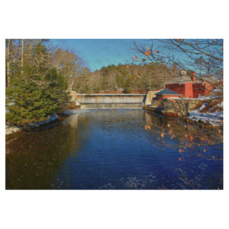 Little River Dam, Belfast, Maine Wood Poster