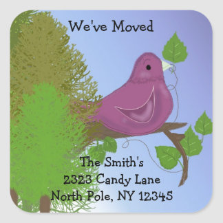Little Robin Change of Address Square Sticker