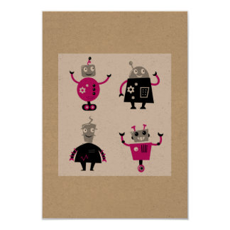 Little robots handdrawn Art Card