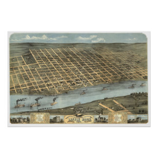 Little Rock, AR 1871 Panoramic Birds Eye View Poster