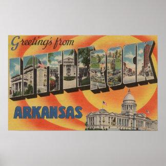 Little Rock, Arkansas - Large Letter Scenes Poster
