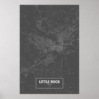Little Rock, Arkansas (white on black) Poster