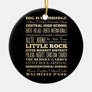 Little Rock City of Arkansas State Typography Art Christmas Ornament