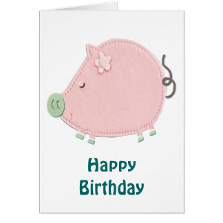 Little Round Pink Piggy Birthday Card