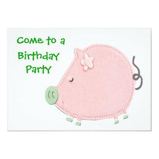 Little Round Pink Piggy Birthday Party Card