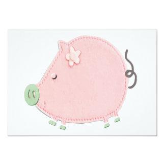 Little Round Pink Piggy Custom Invitations