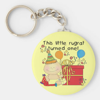 Little Rugrat is One Birthday Tshirts and Gifts Key Chains