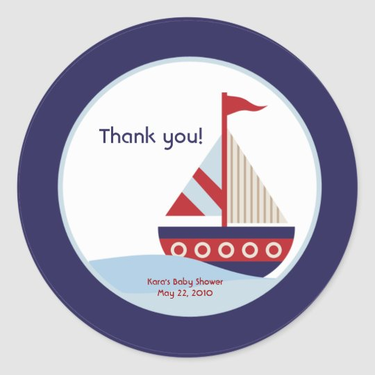 Little Sailboat Navy Boat Baby Shower Favour Classic