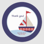 Little Sailboat Navy Boat Baby Shower Favour Round Sticker