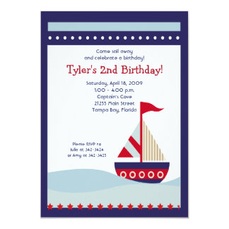 Little Sailboat Navy Boat Nautical Birthday 5x7 5x7 Paper Invitation Card