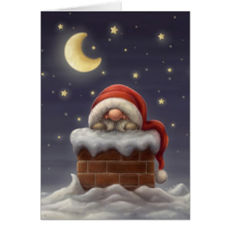 Little Santa in a chimney Card