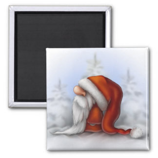 Little Santa in the snow Square Magnet