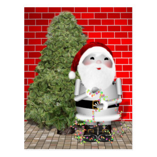 Little Santa Robo-x9 Decorates His Christmas Tree Postcard
