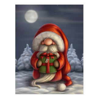 Little Santa with a gift Postcard