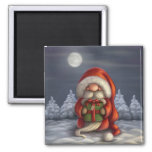 Little Santa with a gift Square Magnet