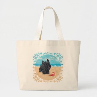 Little Scottie Finds a Crab at the Beach Large Tote Bag