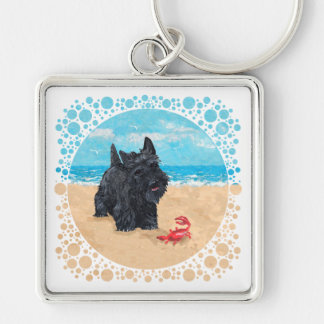 Little Scottie Finds a Crab at the Beach Silver-Colored Square Key Ring