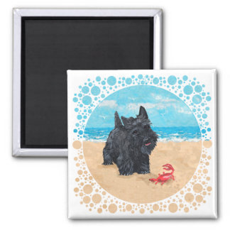 Little Scottie Finds a Crab at the Beach Square Magnet