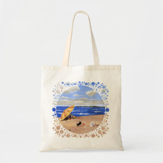 Little Scottie Plays at the Beach Tote Bags