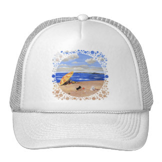 Little Scottie Plays at the Beach Mesh Hats