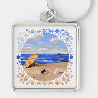 Little Scottie Plays at the Beach Silver-Colored Square Key Ring