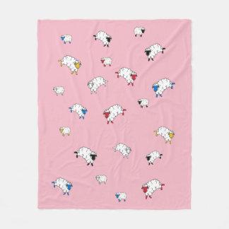 Little sheep white/black/blue/red/yellow on pink fleece blanket