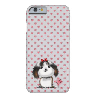 Little Shih Tzu Puppy on Hearts Pattern Barely There iPhone 6 Case