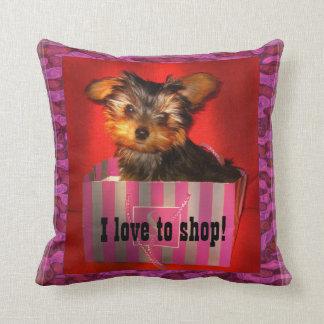Little Shopper Yorkie Throw Pillow