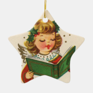 Little Singing Angel Ceramic Star Decoration